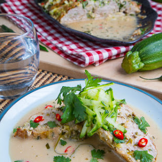 Thai Green Curry Turkey and Zucchini Meatloaf in a Coconut Milk Green Curry Sauce.