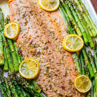 One Pan Salmon and Asparagus with Garlic Herb Butter.