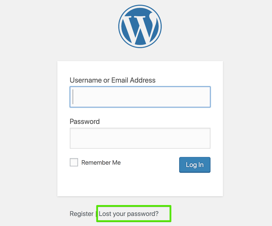 Screenshot of WordPress login page with highlighted lost your password link.