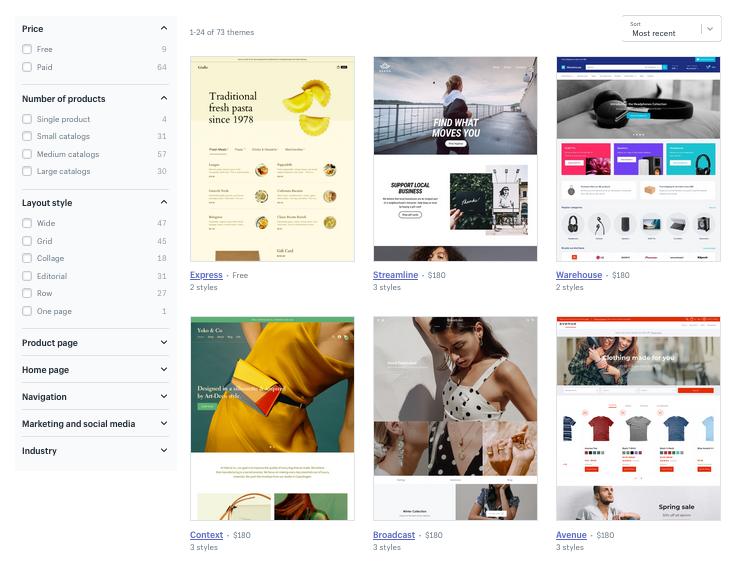 Screenshot Shopify theme store