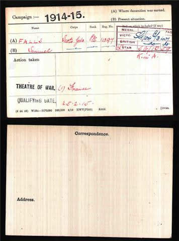 Samuel Joseph Falls's Medal Index Card