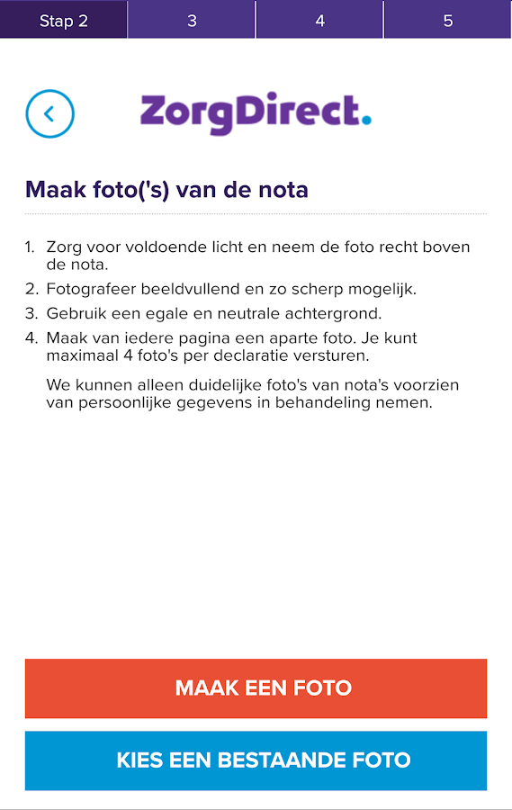 Zorgdirect declaratie App: screenshot