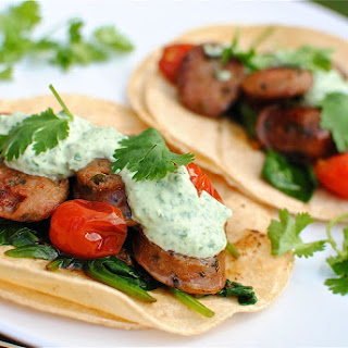 Chicken Sausage Tacos with Cilantro-Yogurt Sauce