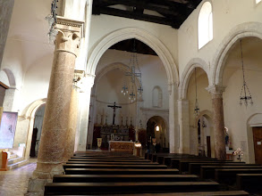 Photo: Basilica of St Nicolo interior - pink columns may be from ancient temple