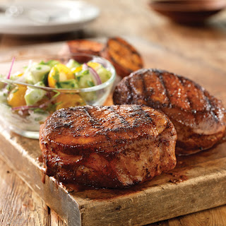 Smoky Hot Chops with Cool Cucumber-Tomato Salad.