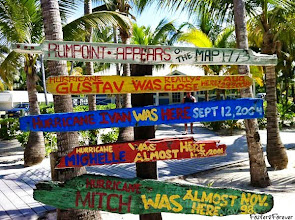 Photo: This #RumPoint sign lists the #hurricanes that affected #Cayman. Hurricane Ivan devastated #GrandCayman in 2004.