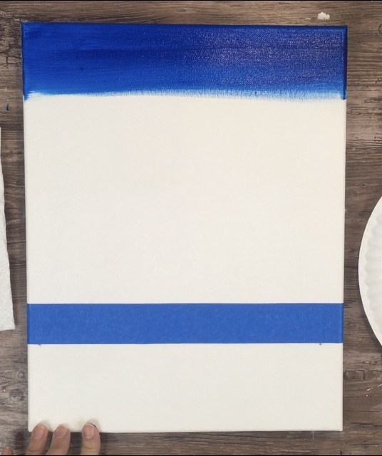 canvas with blue tape