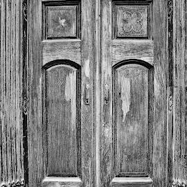 The door to... by Anoop Namboothiri - Black & White Buildings & Architecture ( wooden, black and white, anoop namboothiri, door, antique,  )