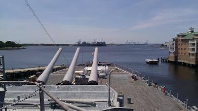 Photo: Looking aft on the battleship Wisconsin.