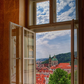 Palace Window View by Jon Marshall - Landscapes Travel ( window, palace, prague )