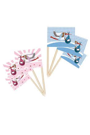 Cocktailflaggor, baby shower blå/rosa