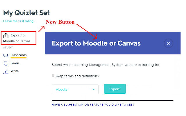 Export Quizlet to Moodle or Canvas