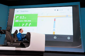 Photo: We got a demo of Android Auto.  http://www.android.com/auto/