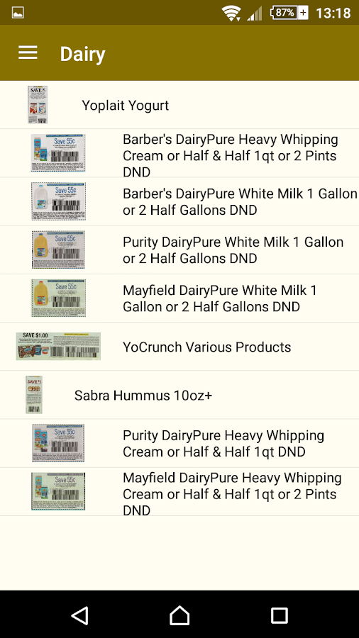 Digital grocery coupons for android