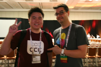 Photo: My one pic with Chad Fowler, sporting my Chicago Code Camp shirt (sorry, it turns out it was blurry).