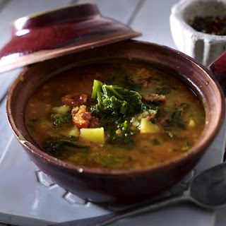 Baby Kale and Potato Soup with Chorizo