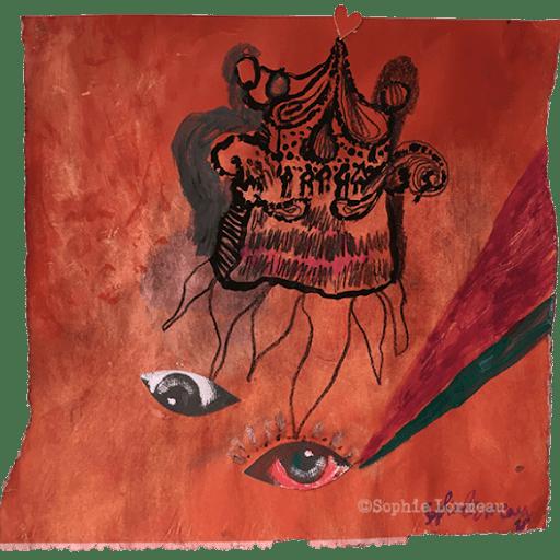 la-maison-du-diable-red-rouge-mauvais-oeil-eye-evil--sophie-lormeau-peinture-artiste-contemporaine-papier-magazine-upcycling-chagall-singuler-art-figuratif-recyclage-colorful