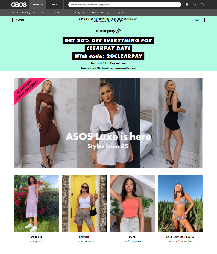 Asos homepage personalization for customer experience