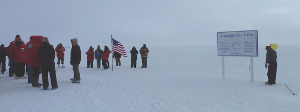 Photo: The old marker is just to the left of the flag (in front of the lady in blue) to be moved to the right.