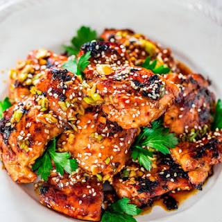 Grilled Harissa Sesame Chicken Thighs.