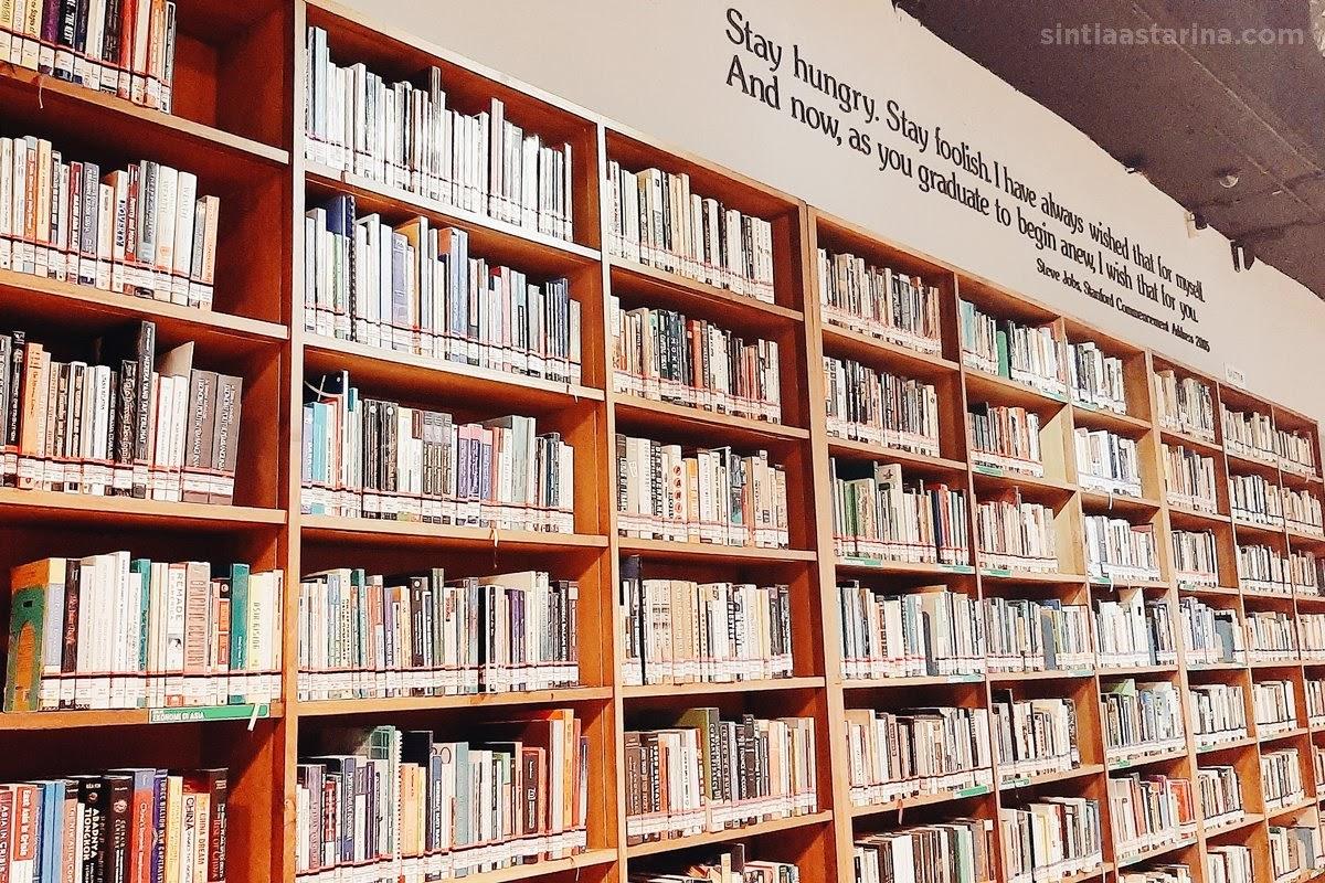 membaca buku di antara rak-rak buku besar ini ternyata menyenangkan!