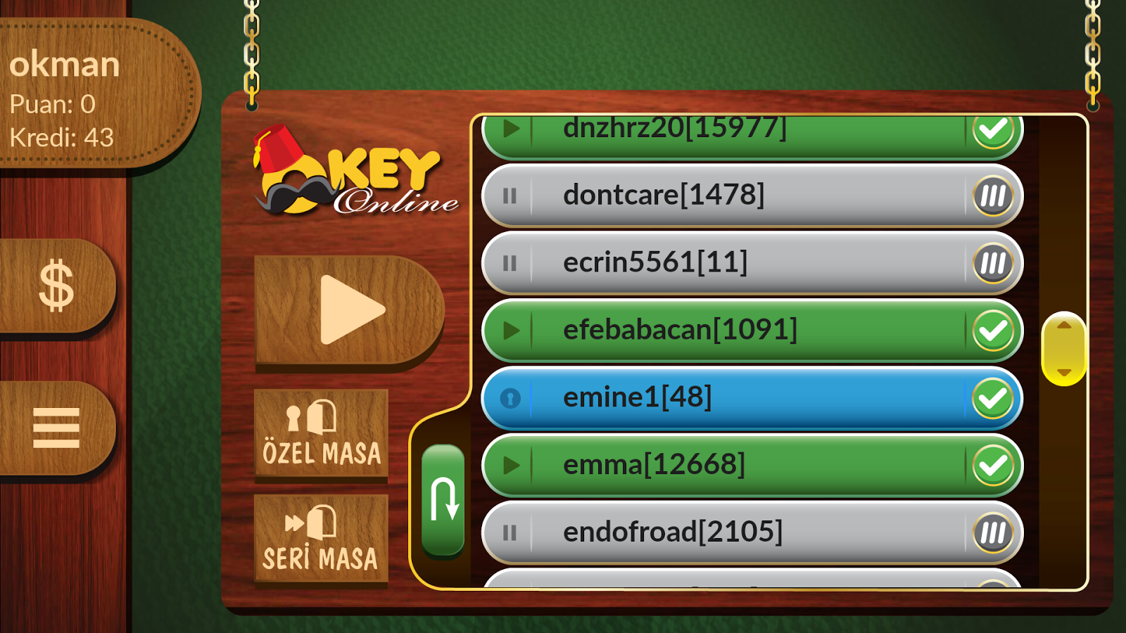 okey online- screenshot