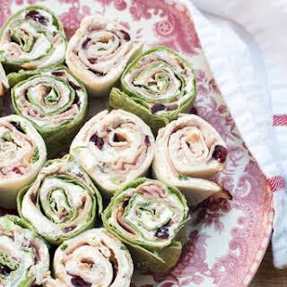 Holiday Ham Cranberry Feta Tortilla Pinwheels.