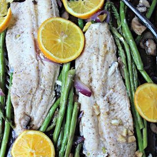 One-Pan Ginger-Orange Glazed Trout with Vegetables.