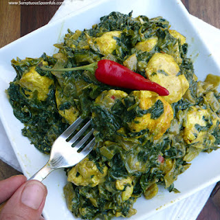 Indian Creamed Spinach with Cheese (Saag Paneer).