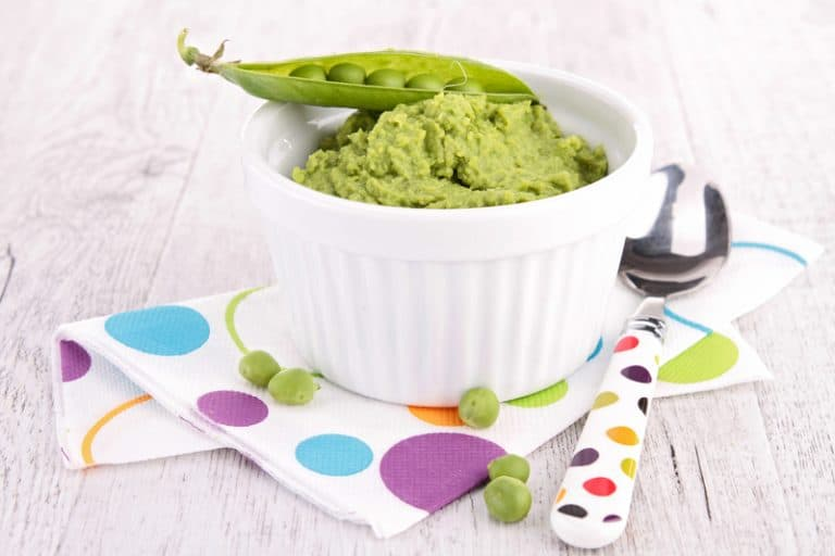 pea puree in a white ramekin: one of the must-have baby food recipes
