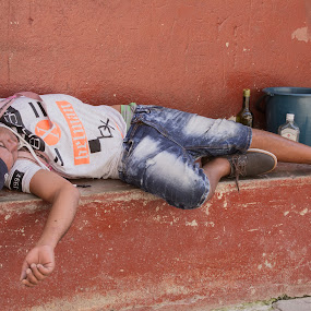 Remembering to forget by Bill Dickson - People Street & Candids ( cuba drunk sleeping homeless outcast )