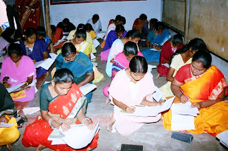 Photo: Another batch of young women writing their test