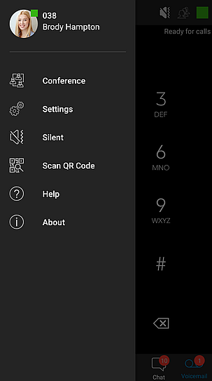Sidebar menu functions in 3CX Android App.