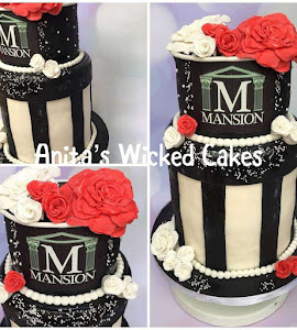 Black, white and red cake