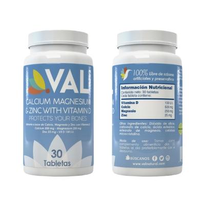 Calcio Magnesio Zinc + Vitamina D Val 30 Tabletas
