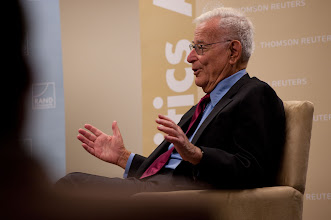 """Photo: Harold Brown talks about his new book, """"Star-Spangled Security Applying Lessons Learned Over Six Decades Safeguarding America,"""" Saturday, Nov. 17 at the RAND Politics Aside event in Santa Monica."""