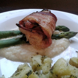 Bacon Wrapped Cordon Bleu Chicken Thighs.