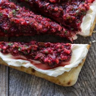 Cranberry Salsa Flatbread Appetizer.