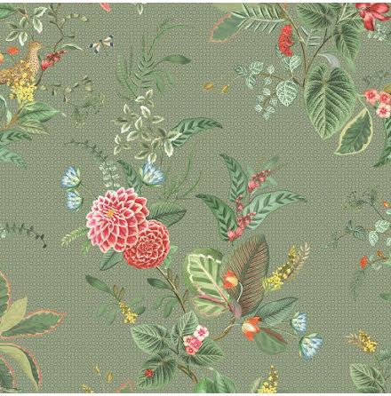 Pip 2020 Floris Tapet med blommor - Grön