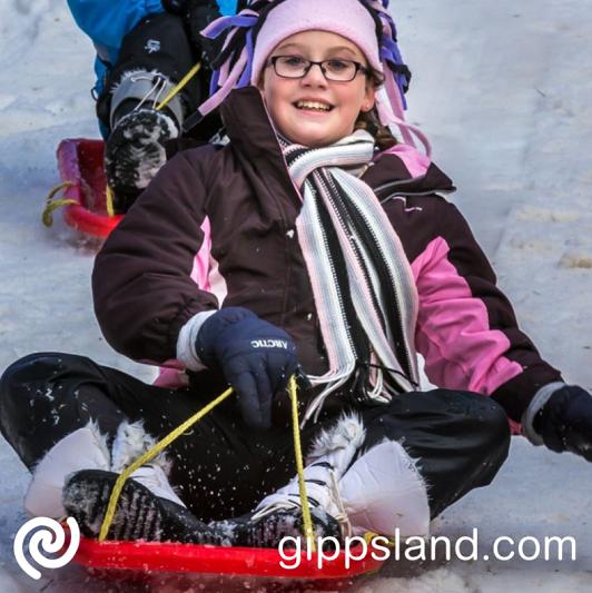 Mt Baw Baw winter kids  toboganning