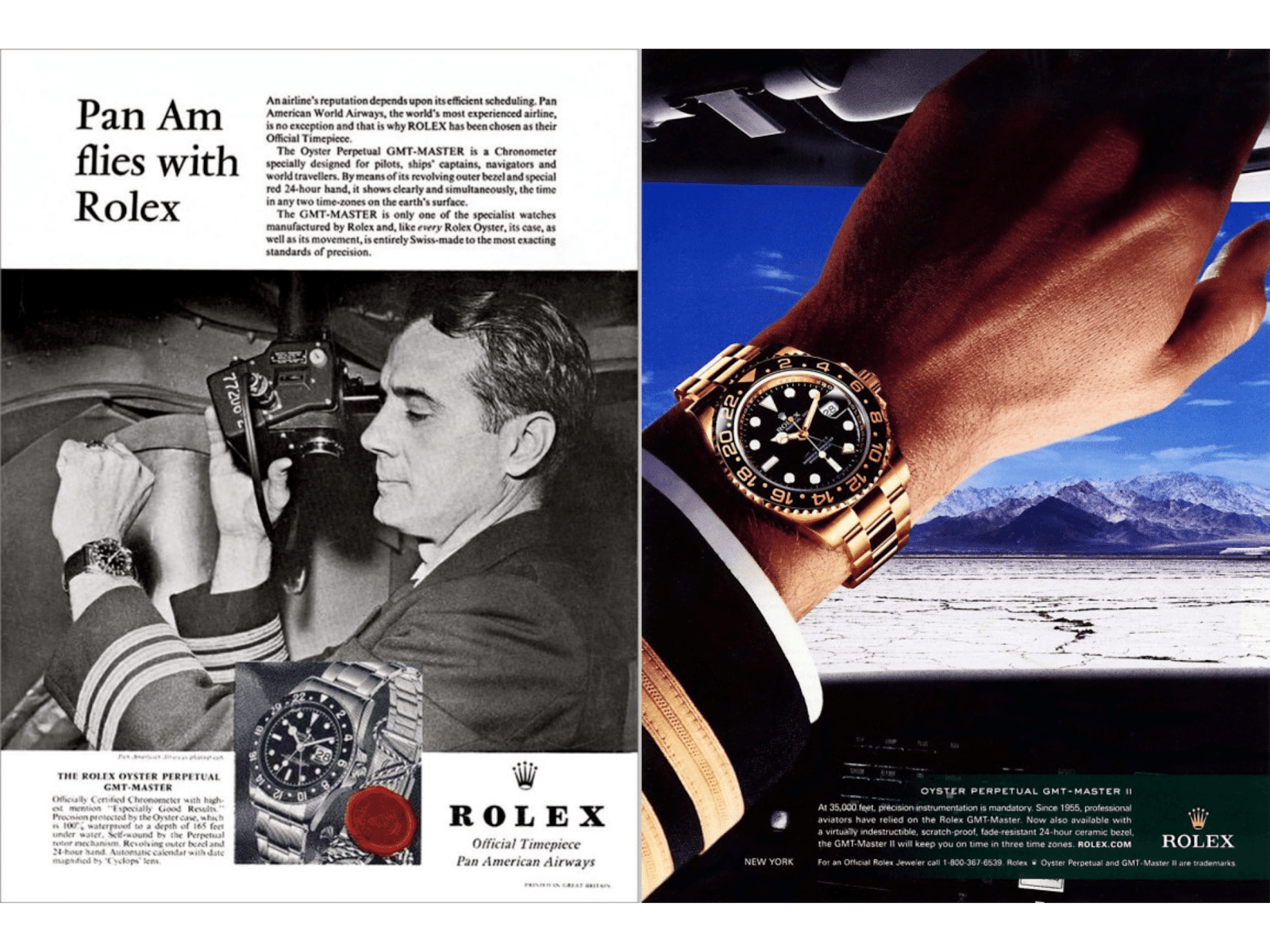 Two advertisements from Rolex Magazine, one that is advertising the Rolex GMT-Master Ref. 6542. The other is advertising the Rolex GMT-Master II.