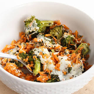 Pesto Broccoli Sweet Potato Rice Casserole.