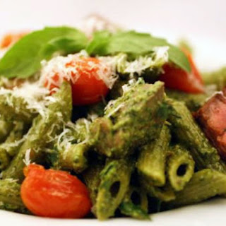 Green Penne with Basil-Spinach Pistou, Roasted Cherry Tomatoes, and Filet