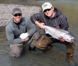 Photo: Gary Eaton a client of Alaska Drift Away Fishing with a nice first run Kasilof River King Salmon.