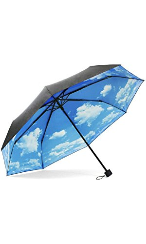 White Clouds Folding Travel Umbrella