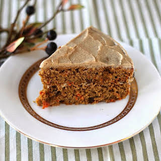 Healthy Whole Wheat Carrot Cake with Maple-Cinnamon Frosting.