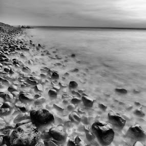 Wet rocks by Fariz Mohammad - Landscapes Beaches ( noir, long exposure, beach, slow shutter, black )