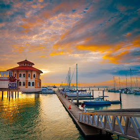 Pengkalan Weld, Penang by Stanley Loong - Landscapes Waterscapes ( clouds, waterscape, boats, penang, malaysia, yacht club, sunrise, pengkalan weld, mood factory, color, lighting, moods, colorful, light, bulbs, mood-lites, , #GARYFONGDRAMATICLIGHT, #WTFBOBDAVIS )