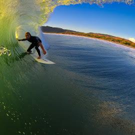 Barreled in blue by Trevor Murphy - Sports & Fitness Surfing ( water, surfing, barrel )