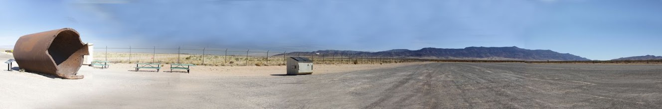 Photo: Panoramic of Jumbo and parking lot approximately 1/4 mile west of Trinity Site